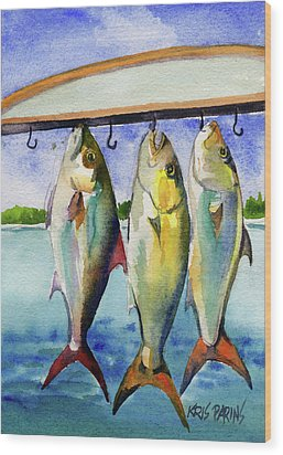 Wood Print featuring the painting Amber Jack by Kris Parins