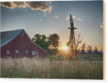 17 Mile House Farm - Sunset Wood Print