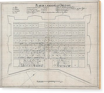 1722 Plan Of New Orleans, The Area That Wood Print by Everett