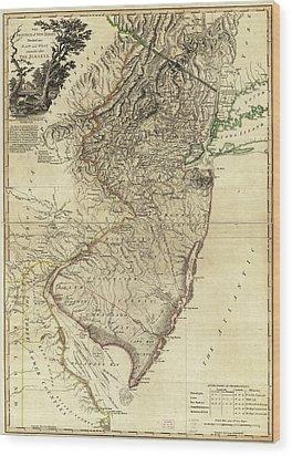 1778 Nj Map Wood Print by Mark Miller