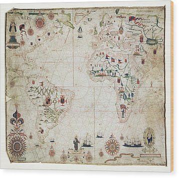 17th Century Nautical Map Of The Atlantic Wood Print by Library Of Congress