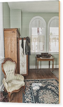 Wood Print featuring the photograph 1800 Closet And Chair by Linda Constant
