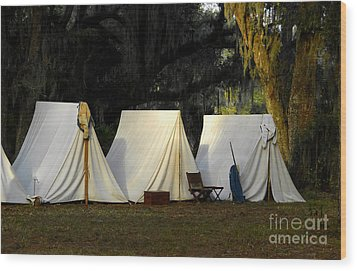 1800s Army Tents Wood Print by David Lee Thompson