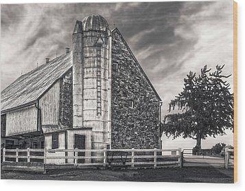 Wood Print featuring the photograph 1803 Amish Stone Barn  -  1803amishstonebarnblkwhi172790 by Frank J Benz