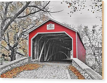 Wood Print featuring the photograph 1839 Kreidersville Bridge by DJ Florek