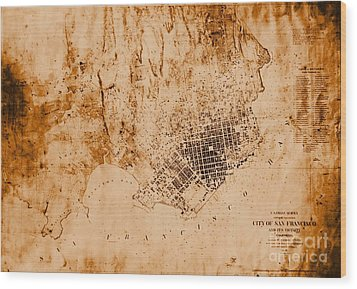 1859 Map Of San Francisco California Wood Print by Padre Art