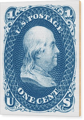 Wood Print featuring the painting 1861 Benjamin Franklin Stamp by Historic Image