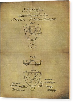1866 Dental Mold Patent Wood Print by Dan Sproul
