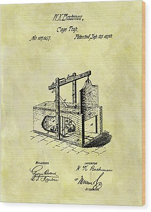 Wood Print featuring the mixed media 1870 Mousetrap Patent by Dan Sproul