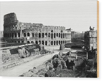 Wood Print featuring the photograph 1870 The Colosseum Of Rome Italy by Historic Image