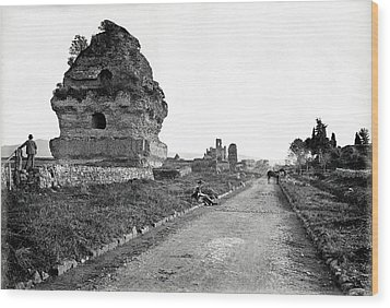 Wood Print featuring the photograph 1870 Visiting Roman Ruins Along The Appian Way by Historic Image
