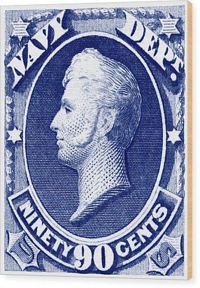 Wood Print featuring the painting 1875 Commodore Perry Us Navy Department Stamp by Historic Image