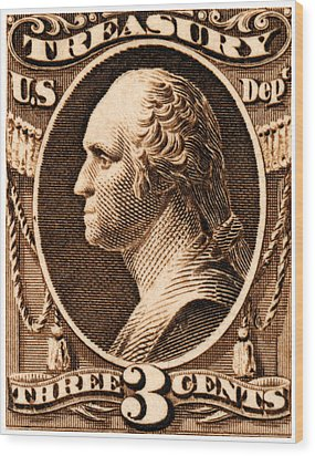 Wood Print featuring the painting 1875 George Washington Treasury Department Stamp by Historic Image