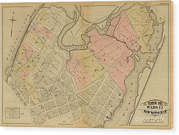 Wood Print featuring the photograph 1879 Inwood Map  by Cole Thompson