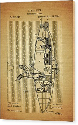 1884 Submarine Ship Patent Wood Print by Dan Sproul