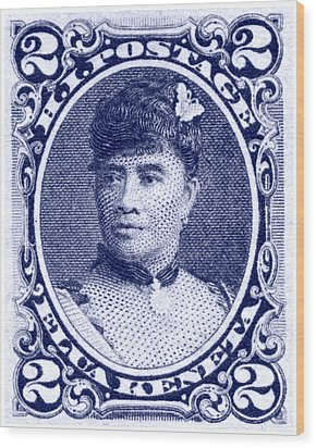 1890 Hawaiian Queen Liliuokalani Stamp Wood Print by Historic Image