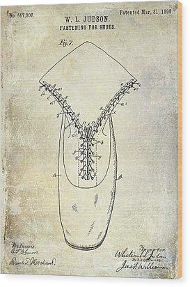 1896 Shoe Patent  Wood Print
