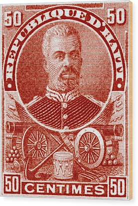 Wood Print featuring the painting 1898 President Of Haiti Stamp by Historic Image
