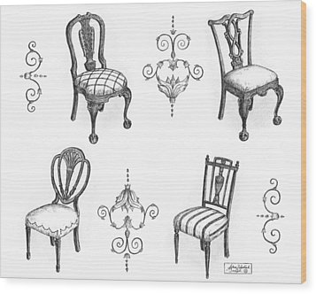 18th Century English Chairs Wood Print by Adam Zebediah Joseph