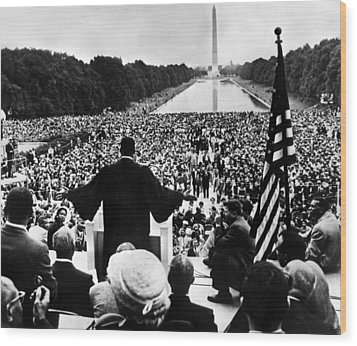 Martin Luther King Jr Wood Print by American School