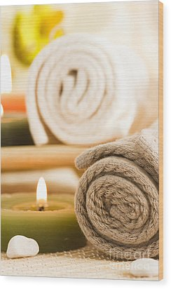 Spa Setting  Wood Print by Mythja  Photography