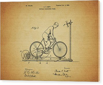1900 Bicycle Exercise Stand Wood Print by Dan Sproul