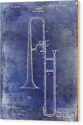1902 Trombone Patent Blue Wood Print by Jon Neidert