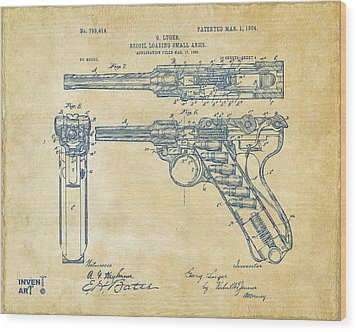 1904 Luger Recoil Loading Small Arms Patent - Vintage Wood Print by Nikki Marie Smith