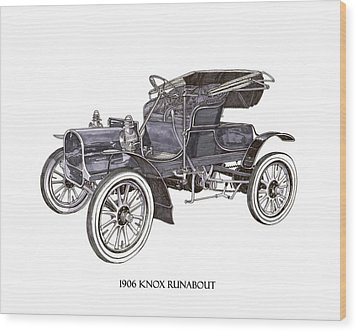 Wood Print featuring the drawing 1906 Knox Model F 3 Surry by Jack Pumphrey