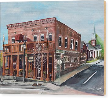 Wood Print featuring the painting 1907 Restaurant And Bar - Ellijay, Ga - Historical Building by Jan Dappen