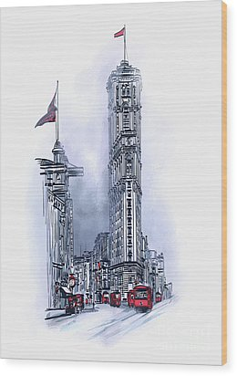 Wood Print featuring the painting 1908 Times Square,ny by Andrzej Szczerski