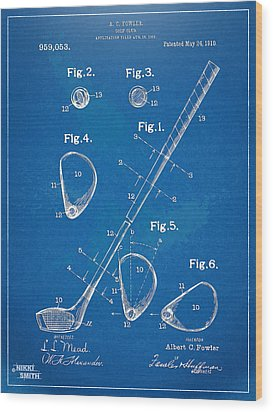 1910 Golf Club Patent Artwork Wood Print by Nikki Marie Smith