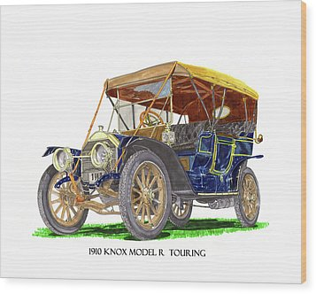 Wood Print featuring the painting 1910 Knox Model R 5 Passenger  Touring Automobile by Jack Pumphrey
