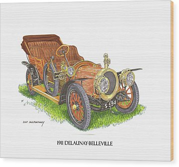Wood Print featuring the painting 1911 Delaunay Belleville Open Tourer by Jack Pumphrey