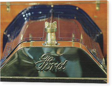 1911 Ford Model T Runabout Hood Ornament Wood Print by Jill Reger