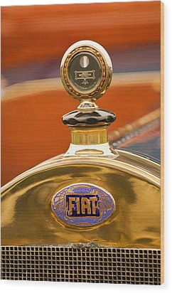 1913 Fiat Type 56 7 Passenger Touring Hood Ornament Wood Print by Jill Reger