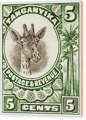 Wood Print featuring the painting 1922 East African Giraffe Stamp by Historic Image