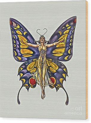1922 Flapper Butterfly Wood Print by Walt Foegelle