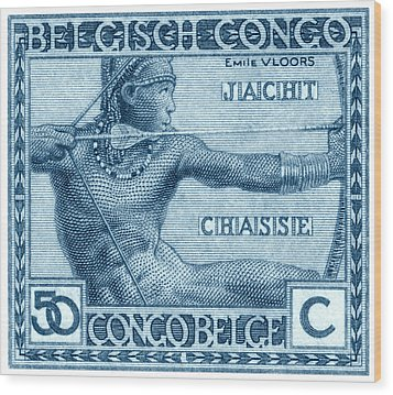 Wood Print featuring the painting 1923 Belgian Congo Native Hunting by Historic Image