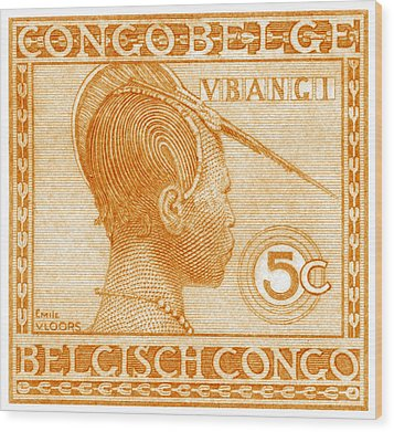 Wood Print featuring the painting 1923 Belgian Congo Ubangi Woman by Historic Image