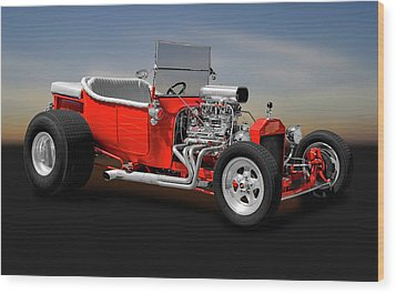 Wood Print featuring the photograph 1923 Ford T-bucket Roadster    -    1923fordtbucket170588 by Frank J Benz