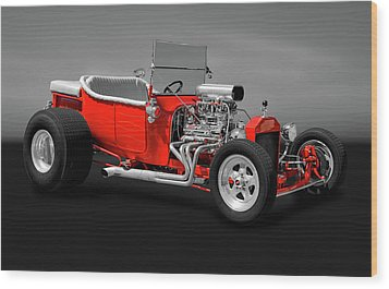 Wood Print featuring the photograph 1923 Ford T-bucket Roadster   -   1923fordtbucketgry170588 by Frank J Benz