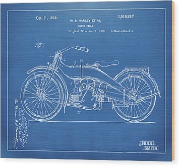 Wood Print featuring the digital art 1924 Harley Motorcycle Patent Artwork Blueprint by Nikki Marie Smith
