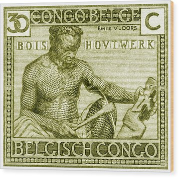 Wood Print featuring the painting 1925 Belgian Congo Native Woodcarving by Historic Image