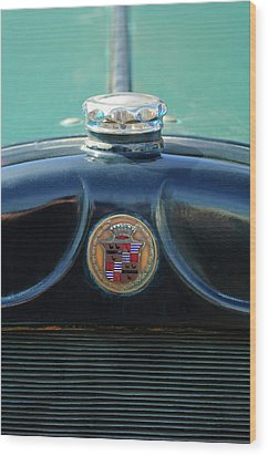 1925 Cadillac Hood Ornament And Emblem Wood Print by Jill Reger