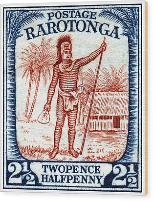 Wood Print featuring the painting 1927 Cook Island Rarotongan Chief Stamp by Historic Image