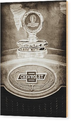 Wood Print featuring the photograph 1928 Chevrolet 2 Door Coupe Hood Ornament Moto Meter -0789s by Jill Reger