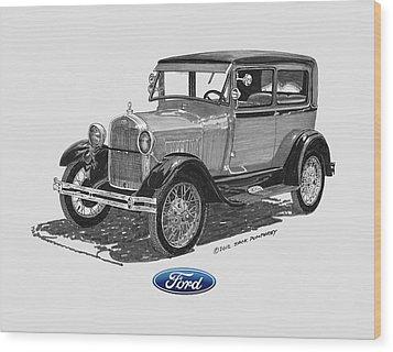 Model A Ford 2 Door Sedan Wood Print by Jack Pumphrey