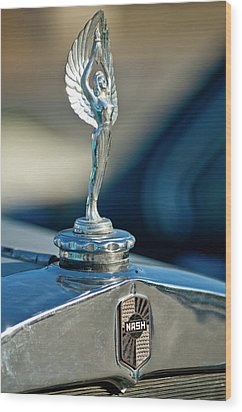 1928 Nash Coupe Hood Ornament Wood Print by Jill Reger