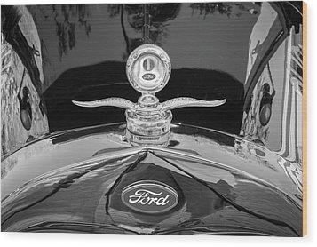 1929 Ford Model A Hood Ornament Bw Wood Print by Rich Franco